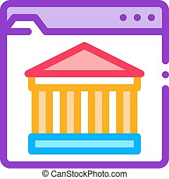 ancient building on web site icon vector outline illustration