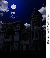 Ancient building under night sky