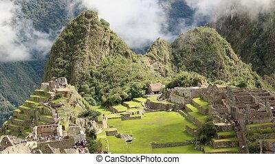 Ancient buildings built by Incans on Machu Picchu - Longshot...