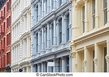 Ancient buildings facades with columns in New York