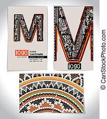 Ancient Business card design LETTER M