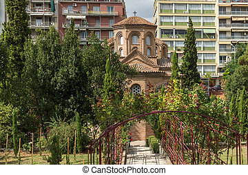 Ancient Byzantine Church of Panagia Chalkeonin the center of...