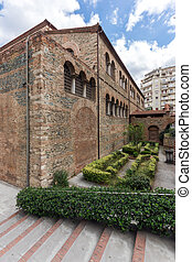 Ancient Byzantine Church of the Acheiropoietos in the center...
