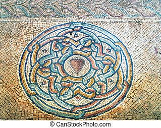 Ancient Byzantine mosaic in St.-Martyrius' monastery in Judaean Desert near Jerusalem.