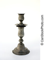 Ancient candlestick - Ancient pewter candlestick, isolated