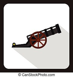 Ancient cannon icon, flat style