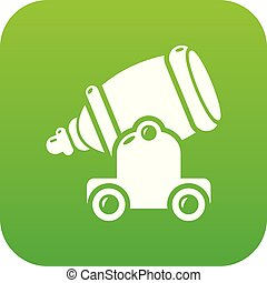 Ancient cannon icon green vector