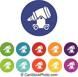 Ancient cannon icons set vector color