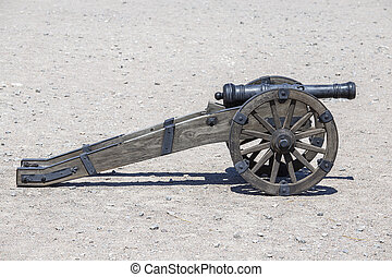 Ancient cannon of the castle fortress. Medieval artillery...