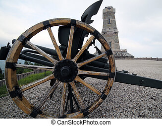 cannon of the first world war and the ossuary monument to...