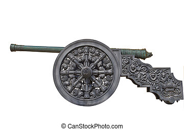 Ancient cannon on wheels isolated on white