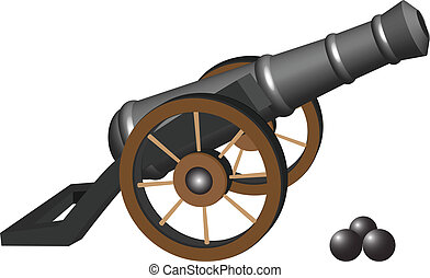 ancient cannon and iron balls against white background,...