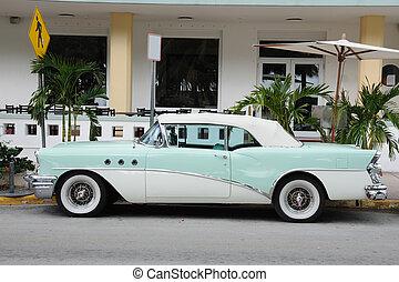 Ancient Car in Miami South Beach, Florida USA