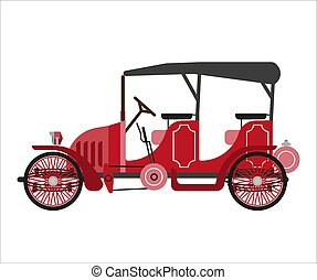Ancient car isolated on white vector flat illustration. Old...