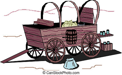 Ancient cart on a white background