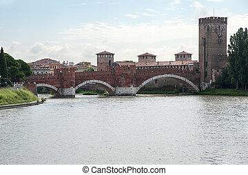 Ancient castle bridge in Verona