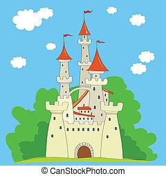 ancient castle - bright drawn ancient castle