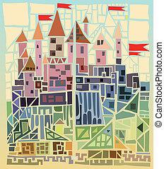 ancient castle - old fairy-tale castle of geometric shapes