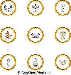 Ancient castle icons set, cartoon style