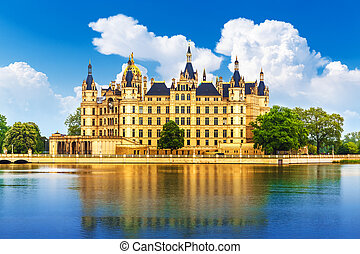 Ancient castle in Schwerin, Germany - Scenic summer view of...
