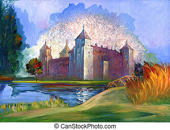 Ancient castle on the bank of lake
