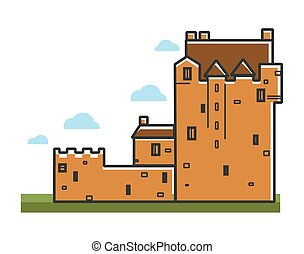 Ancient castle Scotland travel tourism landmark and famous tourist attraction vector icon