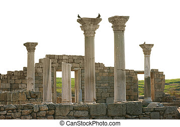 Ancient castle with columns isolated on white background