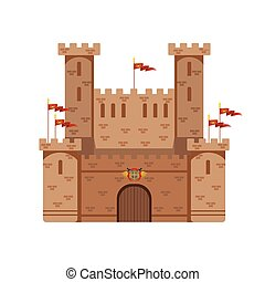 Ancient castle with red flags, medieval architecture building vector Illustration