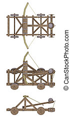 ancient catapult isolated on white