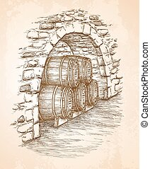 Ancient cellar with wine wooden barrels