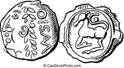 Ancient Celtic Gold Coin of Santones, vintage engraving