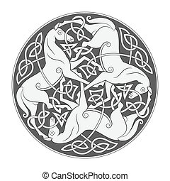 Ancient celtic mythological symbol of horse trinity. Vector...