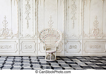 Ancient chair with beautiful wall