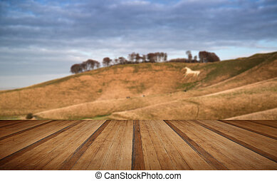 Ancient chalk white horse in landscape with wooden planks floor