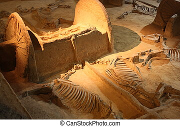 Ancient chariot with skeletons of horses in Archaeological museum of Luoyang city in China