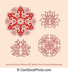 Ancient Chinese Pattern of Sprial Curve Flower Kaleidoscope