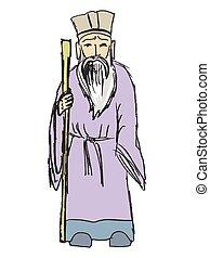 Chinese philosopher. Motives of wisdom, history of China, tao. Vector illustration