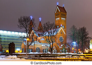 Ancient Christian church at night in Minsk, Belarus