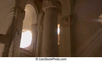 Ancient Christian church interior at Cappadocia. Column of an historical cave church in Turkey. Travel to Turkey.