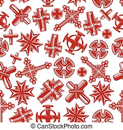 Ancient christian crucifixes red seamless pattern