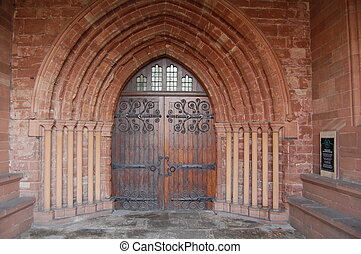 Ancient Church Door - An ancient church door inside a...