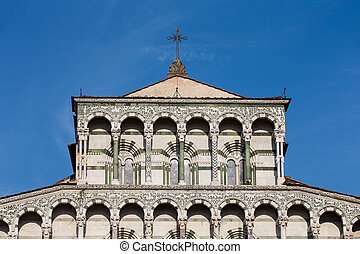 Ancient Church Facade with Cross - Ornate upper marble...