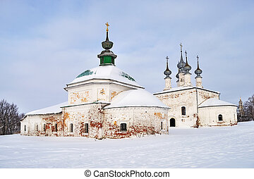 Ancient churches of Suzdal, Russia, winter time