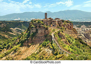 Ancient city Civita di Bagnoregio on hill in Tuscany. Lazio. Italy.