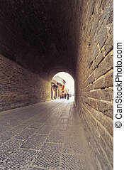 ancient city gate tower entrance, through time in luoyang, ...