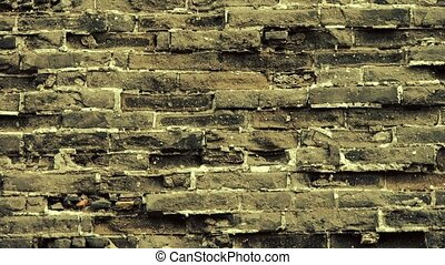 Ancient city Great Wall texture.Weathering of masonry.