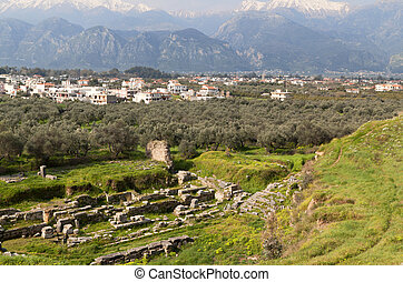 Ancient city of Sparta in Greece - Ancient theater and the...