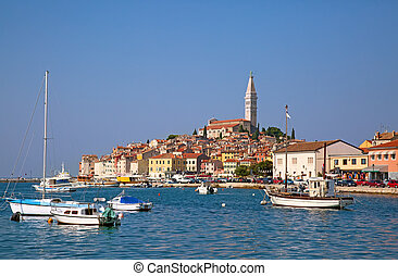Ancient city Rovinj on the Adriatoc sea in Croatia
