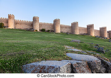 Ancient city wall in Avila, Castile and Leon, Spain