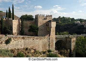 Ancient city wall in Toledo, Spain